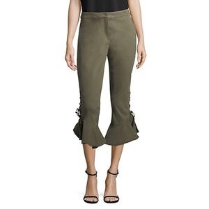 Scripted Cropped Ruffle Hem Pant
